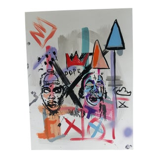 Basquiat Style Abstract Expressionism Acrylic Painting by Melo For Sale