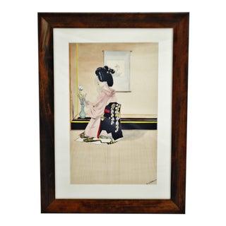 Vintage Framed Ink & Watercolor Japanese Geisha Painting - Artist Signed For Sale