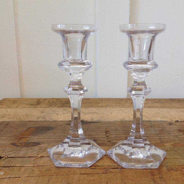 French Crystal Candle Holders- A Pair - Image 5 of 9