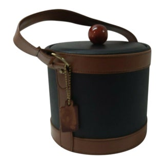 1970s Georges Briard Black and Brown Leather Covered Ice Bucket For Sale