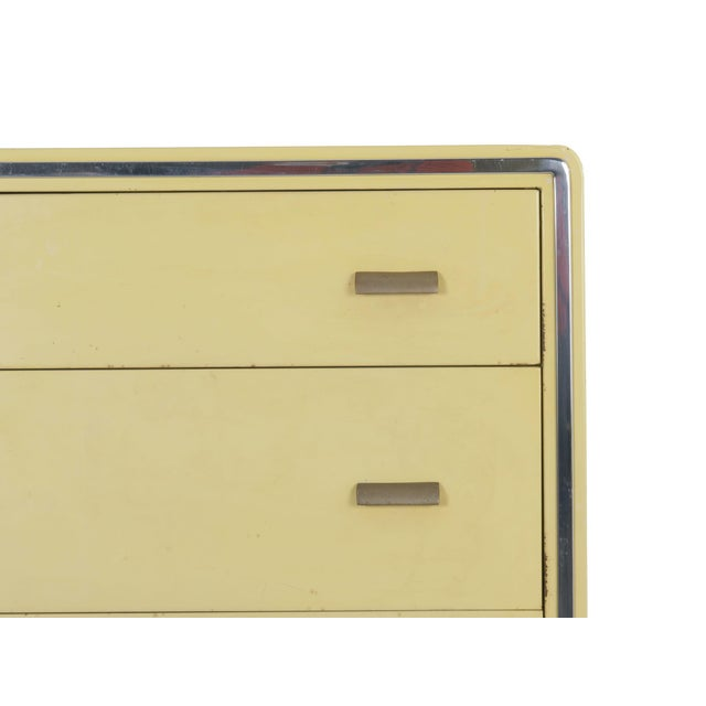 Metal Circa 1930s Art Deco Yellow Enamel Chest of Drawers Dresser by Norman Bel Geddes For Sale - Image 7 of 13