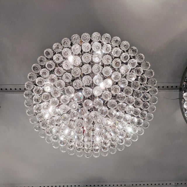 Tiered Austrian Crystal Ball Flush Mount Fixture For Sale - Image 4 of 6