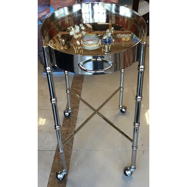 1970s 1970s Hollywood Regency Chrome Bar Cart/ Tray-On-Stand For Sale - Image 5 of 11