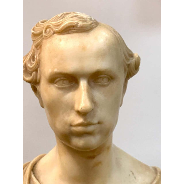 Italian Neoclassical Alabaster Portrait Bust of a Gentleman, by Insom Fece, 1839 For Sale - Image 4 of 12
