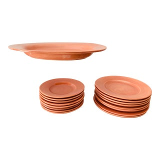 Pottery Barn Terra Cotta Dinnerware Set - 19 Pieces For Sale