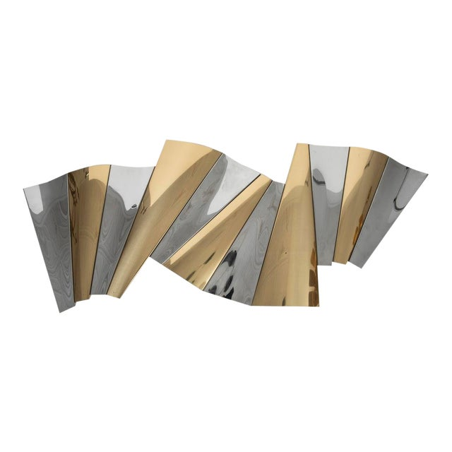 Curtis Jere Brass and Chrome Wall Sculpture For Sale