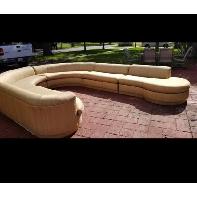 Textile Vintage 1970's Mid Century Modern Curved Sectional Sofa - 5 Pieces For Sale - Image 7 of 12