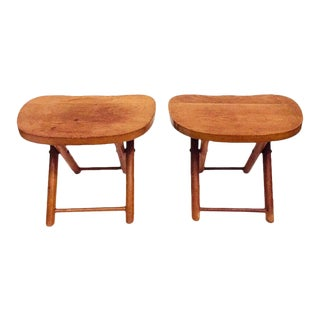 Mid Century Wood Camp Stools Foldable - a Pair For Sale