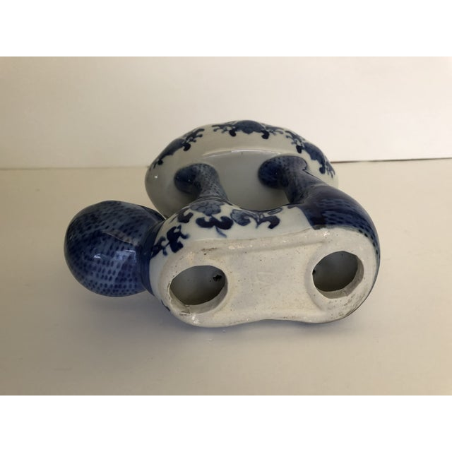 Ceramic Vintage Blue and White Ceramic Monkey Dish For Sale - Image 7 of 8