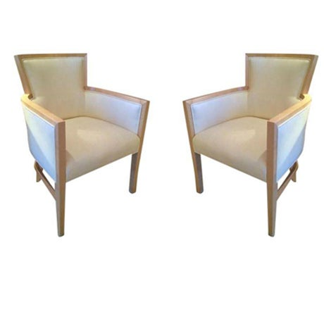 Helen Art Deco Cream Vinyl Armchairs - Pair - Image 1 of 5