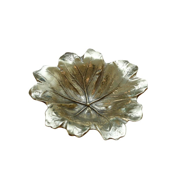 1948 Virginia Metalcrafters Mayapple Leaf Brass Dish For Sale