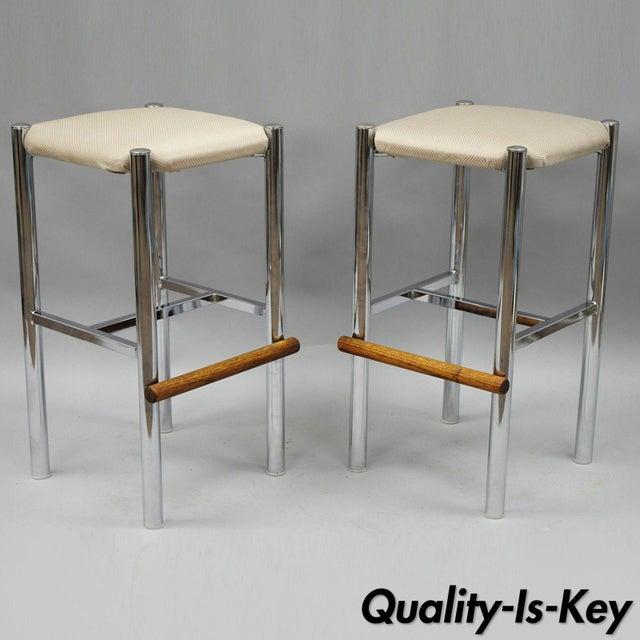 Pair Mid Century Modern Chrome & Oak Wood Barstools Bar Stools Vtg Baughman Era - Image 11 of 11