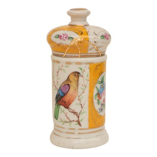 French Porcelain Apothecary Jar With Birds and Gold Mended Repair For Sale