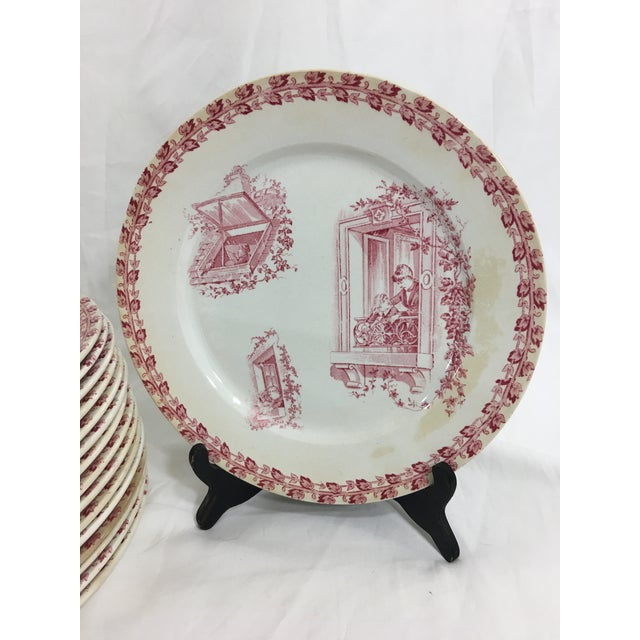 French Provincial Red and White Digoin & Sarreguemines Faience Dinner Set - Set of 26 For Sale - Image 3 of 13