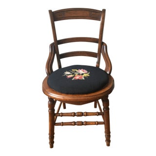 Antique 19th Century Victorian Carved Wood Needlepoint Floral Side Chair For Sale