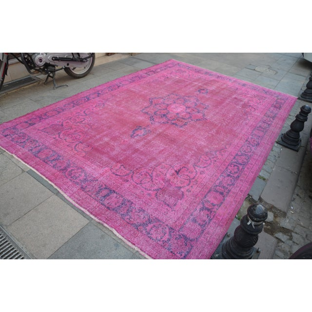 """Islamic Large Size Oriental Turkish Antique Rug - 8′3″ × 12′2"""" For Sale - Image 3 of 6"""