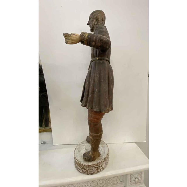 Gray Antique San Isidro 32 In. Wood Statue For Sale - Image 8 of 13