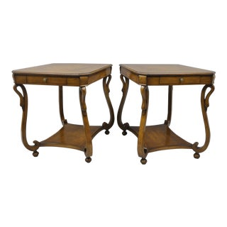 Vintage Regency Neoclassical Style End Side Tables - A Pair