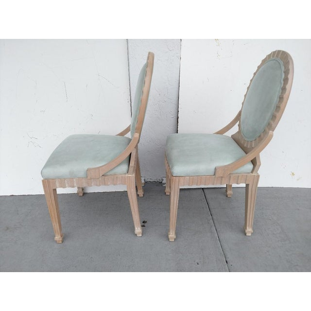 Late 20th Century John Hutton Vintage, Fluted Wood, Oval Backed Side Chairs - a Pair For Sale - Image 5 of 9