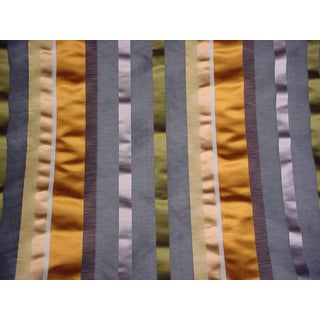 Brunschwig & Files Lineation Silk Stripe Gold Grey Upholstery Fabric - 8 Yards For Sale