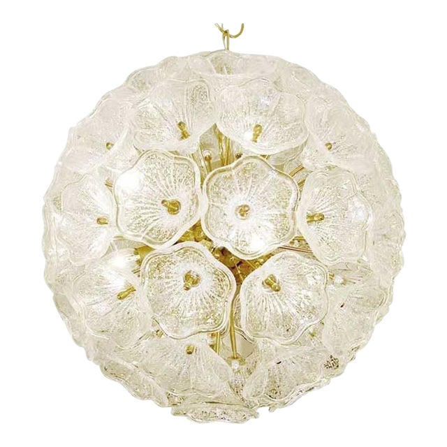 Sputnik Chandelier with Murano Glass Flowers, 1960s For Sale