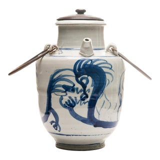 19th Century Blue & White Chinese Oil Pot With Dragon Motif For Sale