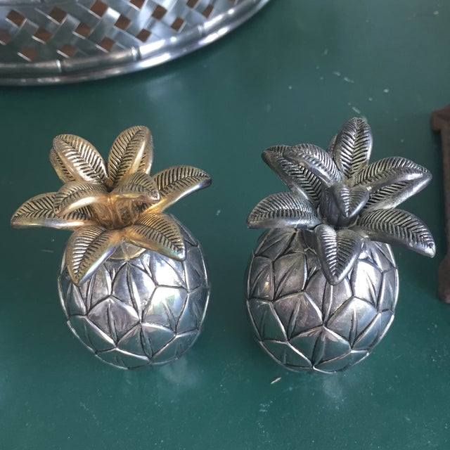 Vintage Silver Pineapple Bowl With Matching Pineapple Salt & Pepper Shaker Set - Image 9 of 10
