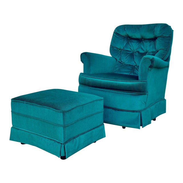 Vintage Broyhill Emerald Green Chair and Ottoman For Sale