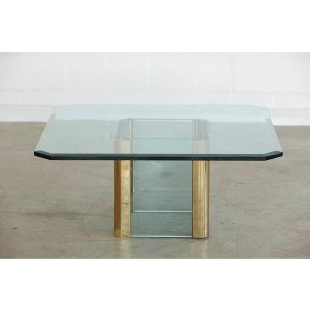 Brass Coffee Table with an Octagonal Beveled Glass Top by Leon Rosen for Pace - Image 4 of 9
