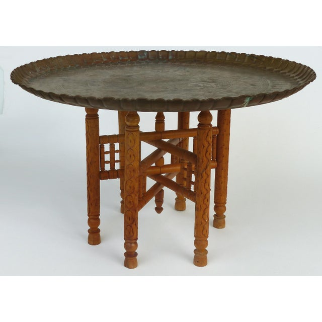 20th Century Moroccan Brass Table Tray on Stand For Sale - Image 12 of 12