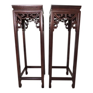 20th Century Chinese Ming Style Rosewood Plant Stands With Marble Tops - a Pair For Sale