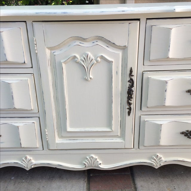 French Provincal White Buffet Dresser For Sale - Image 5 of 11