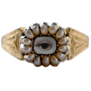 19th Century Lover's Eye Victorian Seed Pearl Ring For Sale