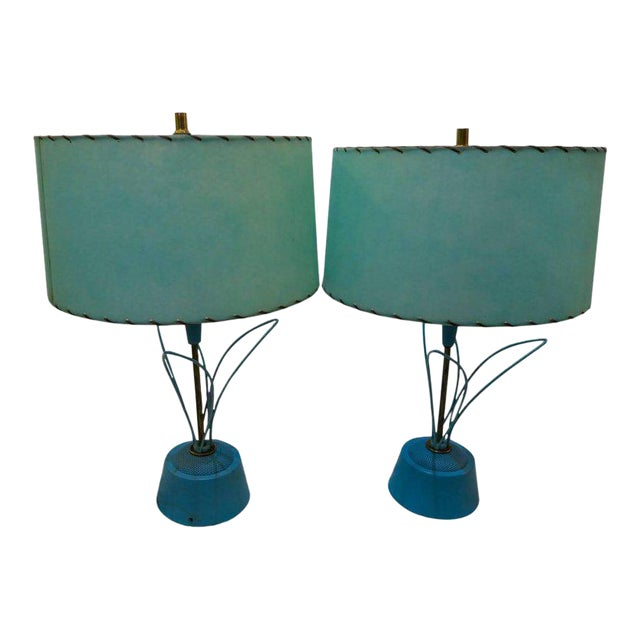 Blue Atomic Metal With Original Fiberglass Shade Lamps, 1950s - A Pair For Sale