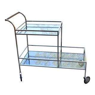 Vintage Hollywood Regency Modern Chrome Glass Bar Cart For Sale