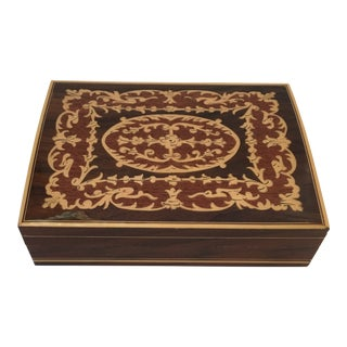 Inlaid Italian Wood Box For Sale