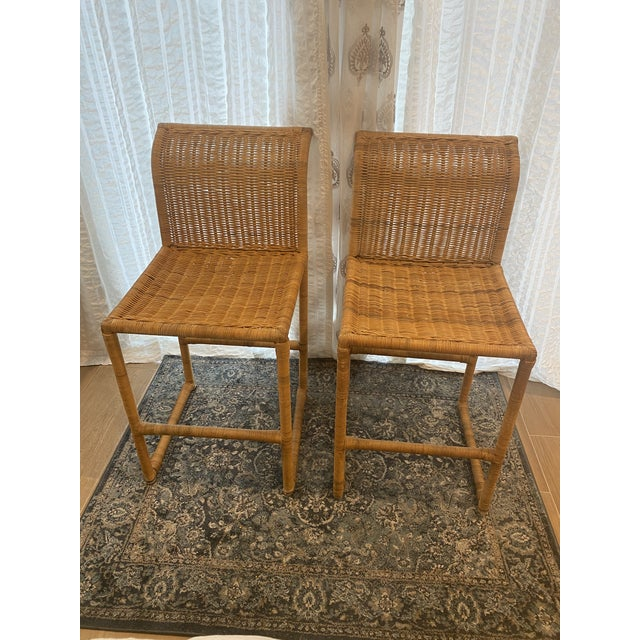 Mid Century Modern Costal Boho Chic Wicker Bar Stools - a Pair For Sale - Image 13 of 13