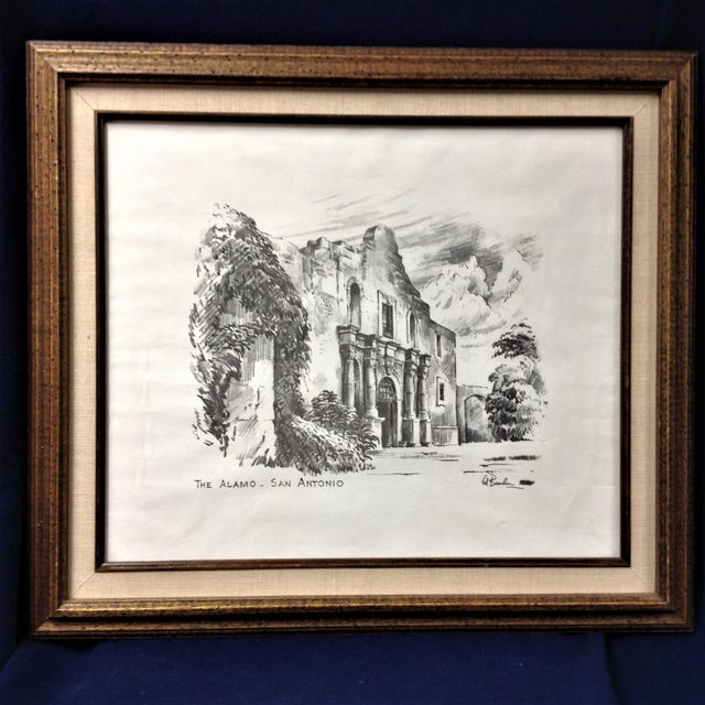 Paper Vintage Alamo Drawing by Edward Bearden For Sale - Image 7 of 7