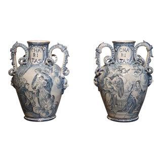 Pair of Antique Italian Blue and White Vases, Naples, Circa 1890 For Sale