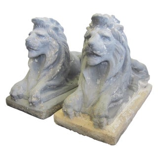 Antique Cast Stone Recumbent Garden Lions - A Pair
