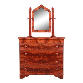 19th Century American Empire Flame Mahogany Dresser With Mirror For Sale
