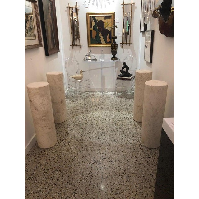 Tan Italian Sandstone Double Pedestal Console Tables - a Pair For Sale - Image 8 of 13