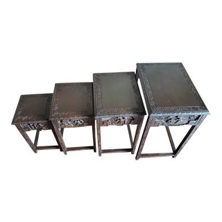 Early 20th Century Chinese Carved Nesting Tables - Set of 4 For Sale