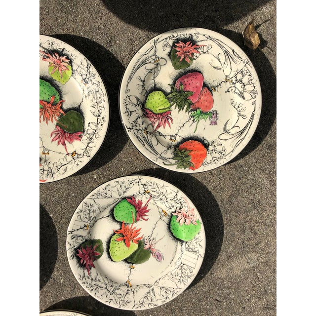 French Vintage French Gien Strawberry Plates For Sale - Image 3 of 6