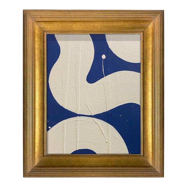 Ron Giusti Mini Hebi Navy and Cream Acrylic Painting, Framed For Sale