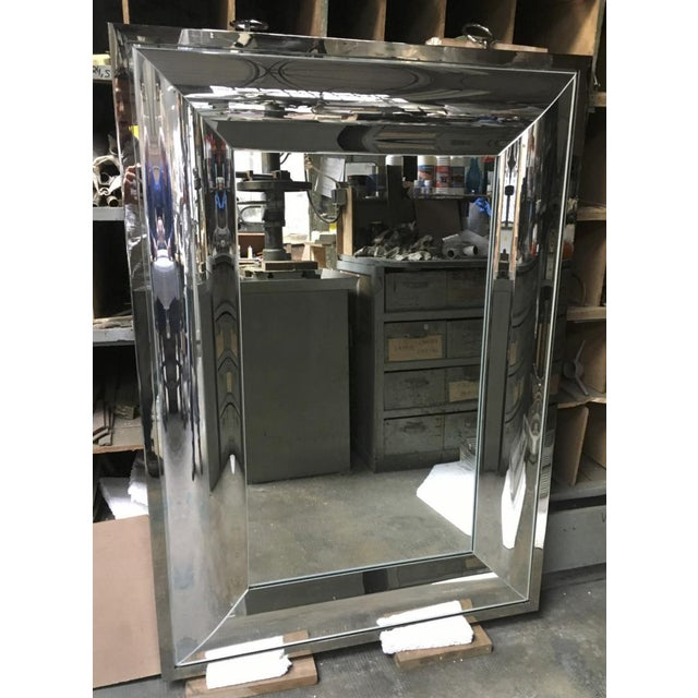 Andre Hayat Andre Hayat Rectangular Curved Silver Mercury Frame Mirror For Sale - Image 4 of 11