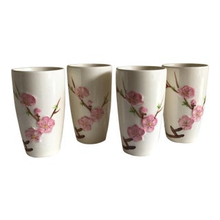Vintage Asian Cherry Blossom Tumblers - Set of 4 For Sale