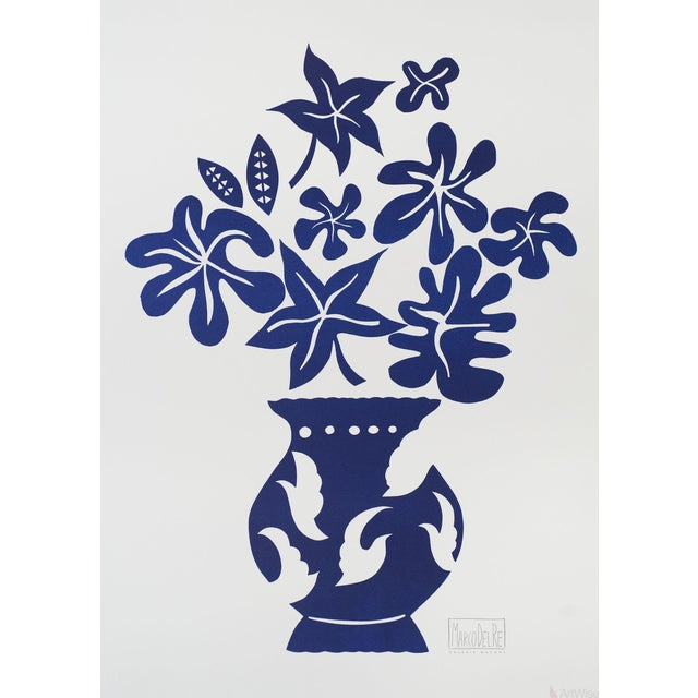 "Marco Del Re ""Vase IV Bleu"" 2008 Lithograph - Image 1 of 2"
