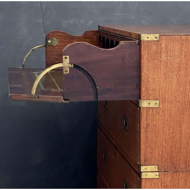 Brown English Officer's Campaign Chest Secretaire of Teak and Brass For Sale - Image 8 of 13