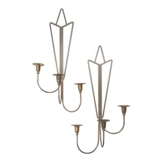 Tommi Parzinger Style Three Arm Wall Sconce Candle Holders-A Pair